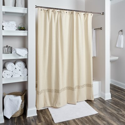 Valbonne Cotton Shower Curtain Color: Beige