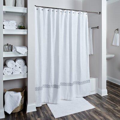 Valbonne Cotton Shower Curtain Color: White