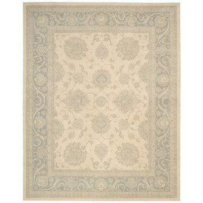 Forcier Hand-Tufted Ivory/Blue Area Rug Rug Size: Rectangle 76 x 96