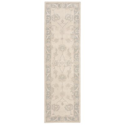 Forcier Hand-Tufted Ivory/Blue Area Rug Rug Size: Runner 23 x 8
