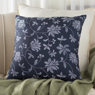 Grovetown Traditional Floral Outdoor Throw Pillow Size: 18 H x 18 W, Color: Navy Blue