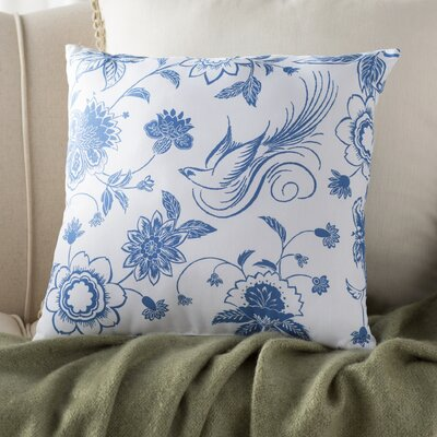 Grovetown Traditional Bird Floral Print Throw Pillow Color: Blue, Size: 18 H x 18 W