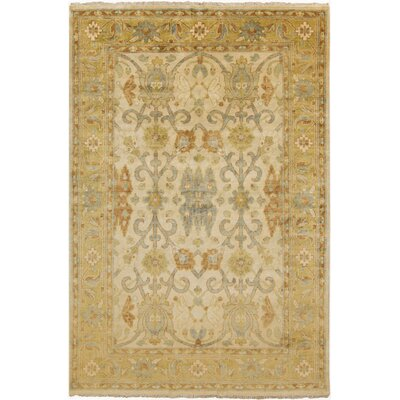 Dellinger Hand Knotted Gold Area Rug Rug Size: 2 x 3