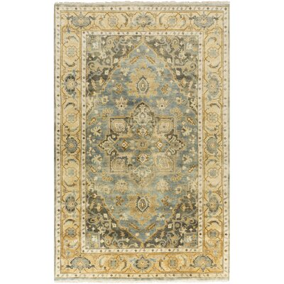 Kangley Hand-Knotted Lime Area Rug Rug Size: 56 x 86