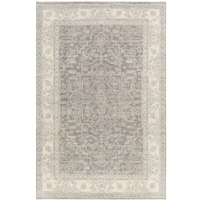 Naelle Hand-Knotted Medium Gray/Cream Area Rug Rug size: 2 x 3