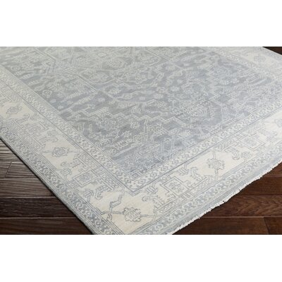 Naelle Hand-Knotted Light Gray Area Rug Rug size: 9 x 12