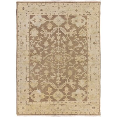 Talence Hand-Knotted Brown Area Rug Rug Size: 79 x 99