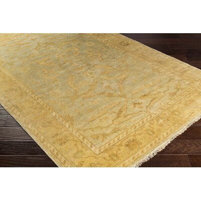 Talence Hand-Knotted Gold Area Rug Rug Size: Rectangle 10 x 14