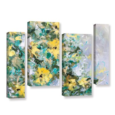 Sunflowers and Daisies 4 Piece Painting Print on Wrapped Canvas Set OAWY5605 33524217