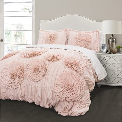 Lazerte 3 Piece Pink Blush Comforter Set Size: Full/Queen