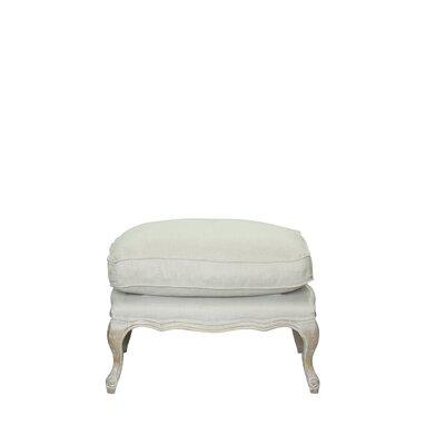 Dorothy Leather Ottoman Upholstery: White/Linen