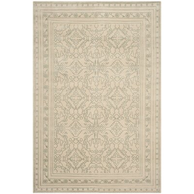 Abere Hand-Knotted Cream/Sky Blue Area Rug Rug Size: Rectangle 6 x 9