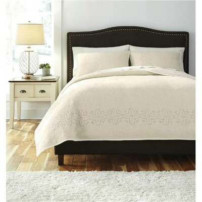 Descartes Stitched 3 Piece Comforter Set Size: King