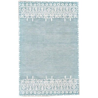Bonneval Hand-Tufted Turquoise/Ivory Area Rug Rug Size: 5' x 8'