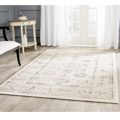 Porcello Ivory/Light Gray Area Rug Rug Size: Rectangle 27 x 5
