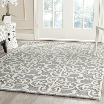 Nicholls Gray Hand-Woven Wool Area Rug Rug Size: Rectangle 4 x 6
