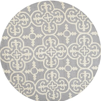 Nicholls Gray Hand-Woven Wool Area Rug Rug Size: Round 6
