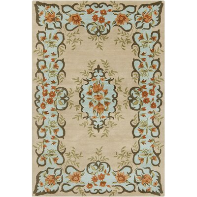 Dions Hand Tufted Wool Beige/Blue Area Rug