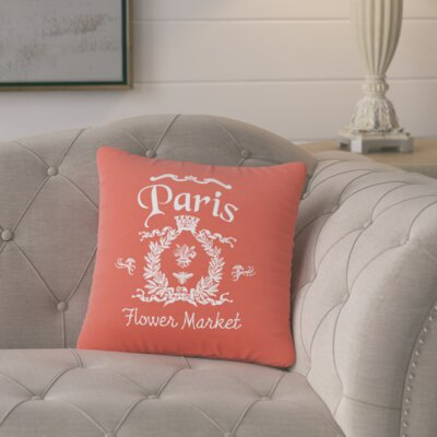 Circee Flower Market Cotton Throw Pillow Color: Cayenne