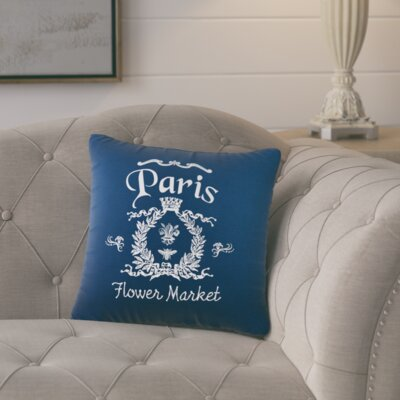 Circee Flower Market Cotton Throw Pillow Color: Navy