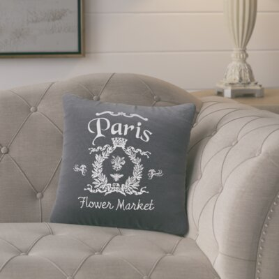 Circee Flower Market Cotton Throw Pillow Color: Gunmetal Grey