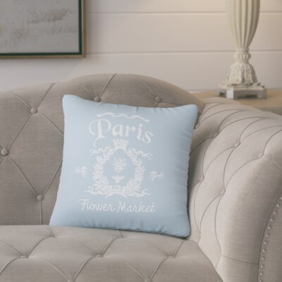 Circee Flower Market Cotton Throw Pillow Color: Placid Blue