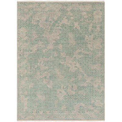 Lazzaro Hand-Knotted Green/Gray Area Rug Rug Size: Rectangle 9 x 13