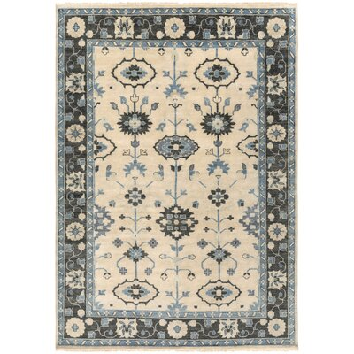 Kangley Beige/Blue Area Rug Rug Size: 5'6