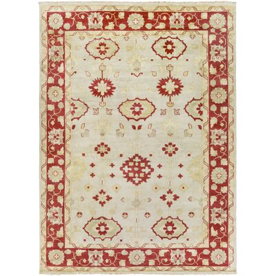 Kangley Hand Knotted Beige Area Rug Rug Size: 8 x 11