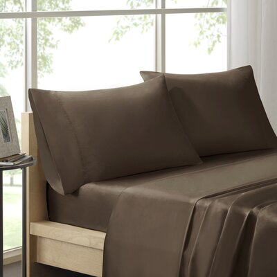 Virgile 300 Thread Count Pima Cotton Pillowcase Size: King, Color: Chocolate