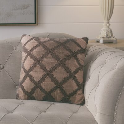 Armillac Chenille Embroidered Throw Pillow Color: Espresso