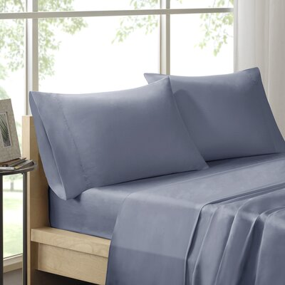 Virgile 300 Thread Count Pima Cotton Pillowcase Size: King, Color: Blue