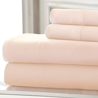 Iris 600 Thread Count 4 Piece Sheet Set Color: Pale Peach, Size: Queen