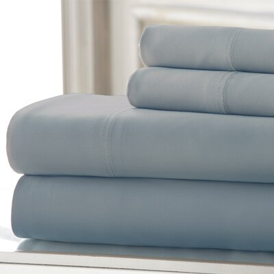 Iris 600 Thread Count 4 Piece Sheet Set Size: King, Color: Dusty Blue