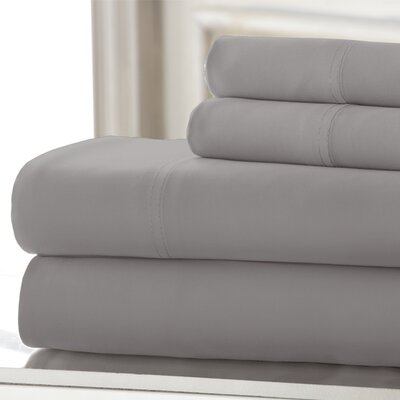 Iris 600 Thread Count 4 Piece Sheet Set Size: Queen, Color: Platinum