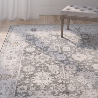 Yanis Hand-Knotted Charcoal/Ivory Area Rug Rug Size: Rectangle 9 x 12