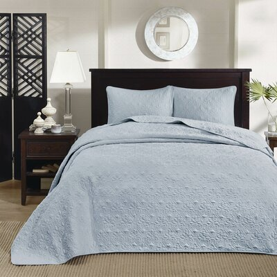 Riverside Reversible Quilt Set Size: King, Color: White