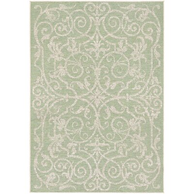 Arnegard Ivory/Light Green Indoor/Outdoor Area Rug Rug Size: Runner 23 x 71