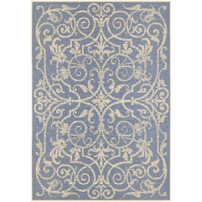 Peralez Ivory/Sapphire Indoor/Outdoor Area Rug Rug Size: Rectangle 39 x 55