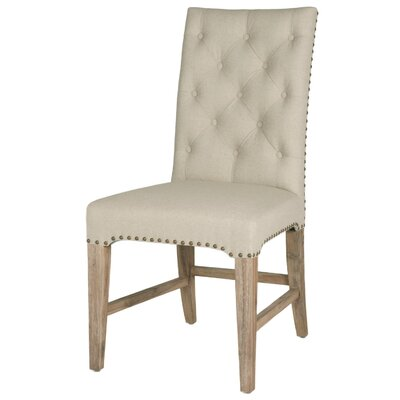 Parfondeval Upholstered Side Chair (Set of 2) Upholstery: Natural Fabric, Finish: Stone Wash
