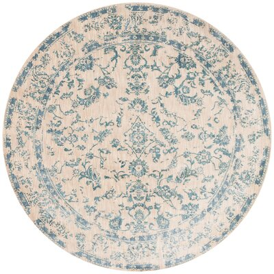 Lyster Ivory/Blue Area Rug Rug Size: Round 96 x 96