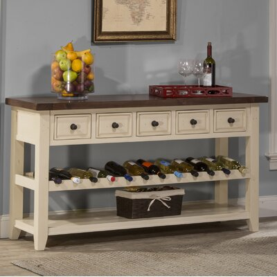 Orner Buffet Table Color: Country White with Antique Pine Top