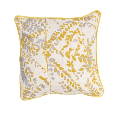 Oropeza Floral Cotton Throw Pillow Color: Yellow / Grey
