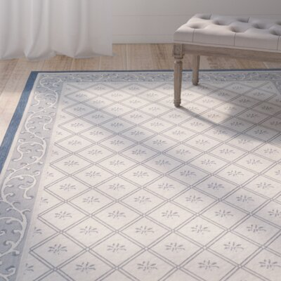 Rhine Beige/Navy Indoor/Outdoor Area Rug Rug Size: Runner 23 x 67