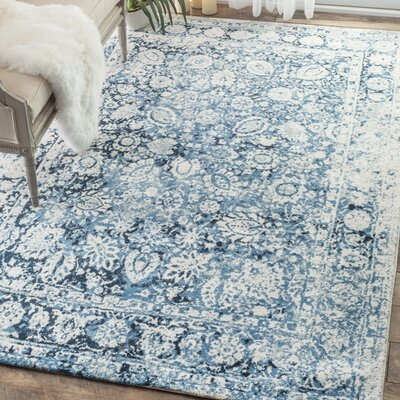 Lavardens Blue/White Area Rug Rug Size: Rectangle 76 x 96