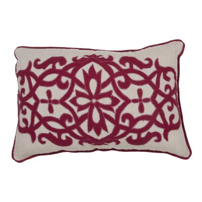Orsini Floral Linen Throw Pillow Color: Red