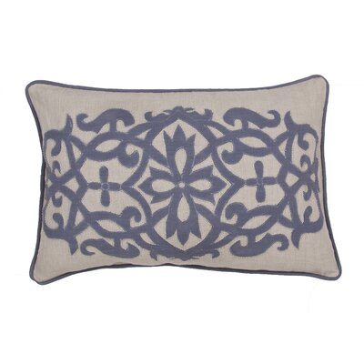 Orsini Floral Linen Throw Pillow Color: Blue