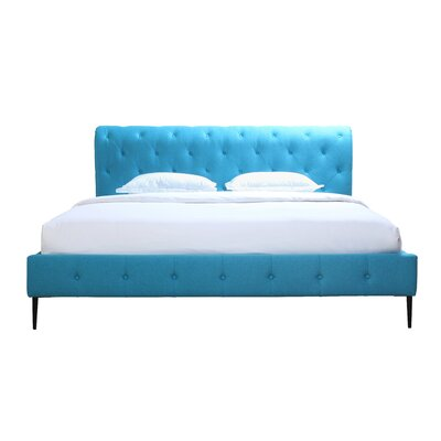 Osman Upholstered Platform Bed Size: Queen, Color: Peacock Blue