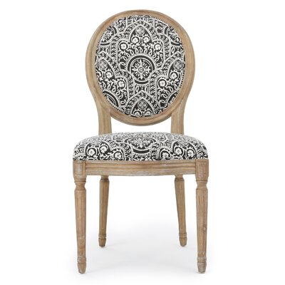 Bluffton Side Chair Upholstery: Black/White