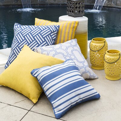 Louisa Outdoor Throw Pillow Size: 20 H x 20 W x 4 D, Color: Cobalt